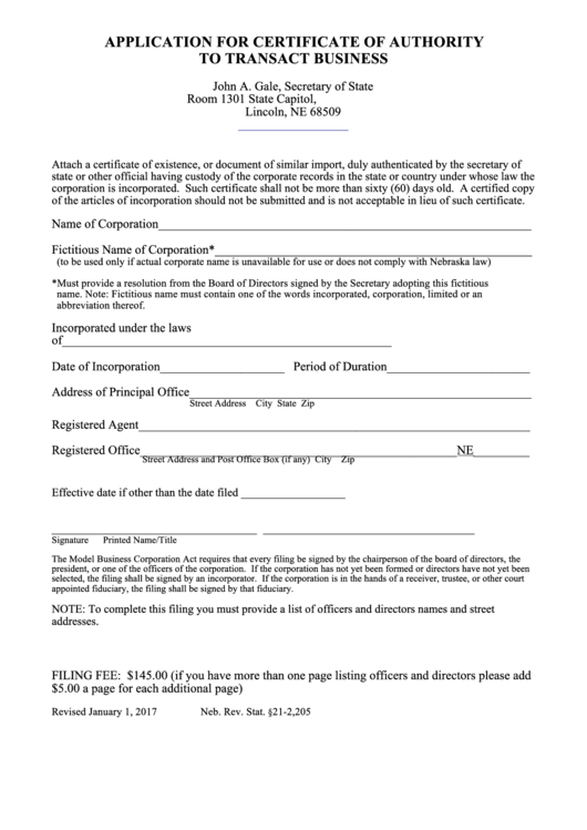 application for certificate of authority to transact business nebraska secretary of state - Nebraska Certificate Of Organization Template