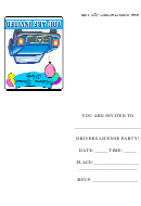 Blue Car Drivers License Party Invitation Template