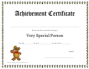 Very Special Person Achievement Certificate Template