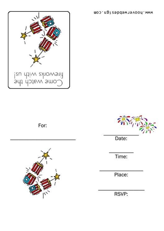 4th Of July Fireworks Invitation Template Printable pdf