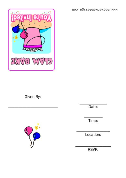 Clam Bake Party Invitation Template Printable pdf