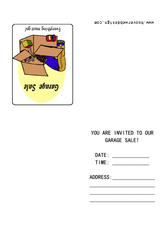 Garage Sale Invitation Template Printable pdf