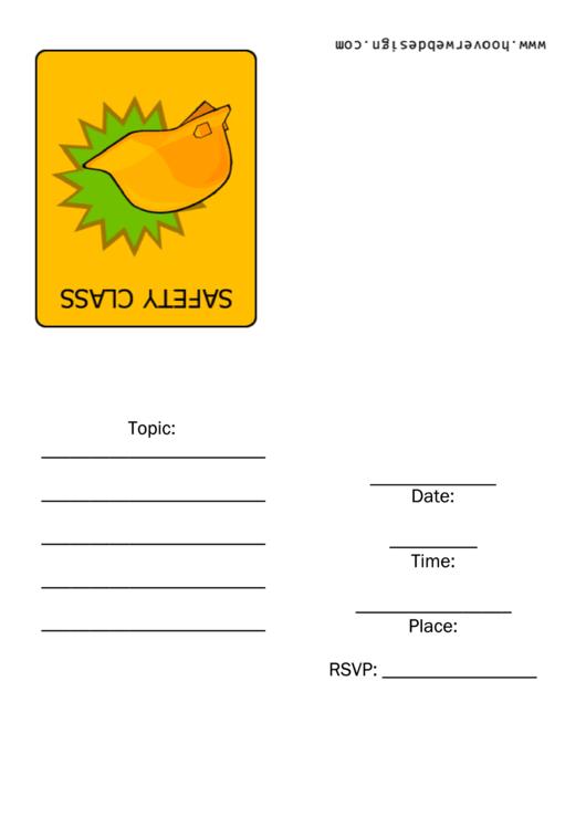 Safety Class Invitation Template Printable pdf