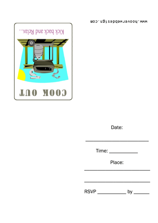 Propane Gas Barbque Grill Cook Out Invitation Template Printable pdf