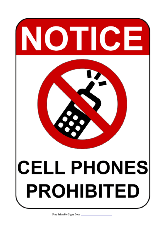 Cell Phones Probhibited Sign Template