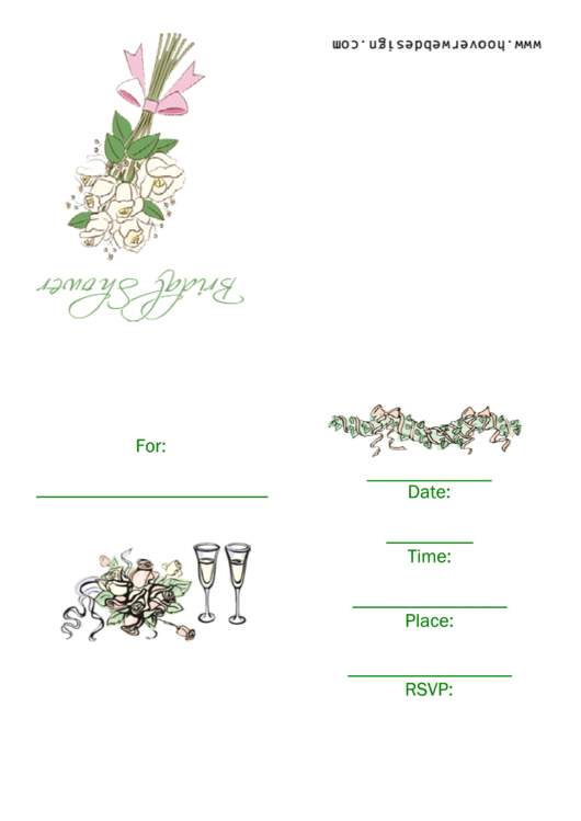 Bridal Shower Invitation With Wedding Bouquet Template Printable pdf