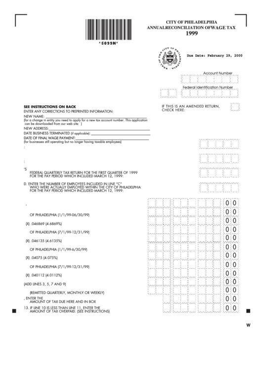 Annual Reconciliation Of Wage Tax Form - City Of Philadelphia Printable pdf