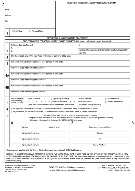 Form 76f286d-f029 - Fictitious Business Name Statement