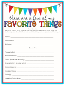 These Are A Few Of My Favorite Things Template Writing Template