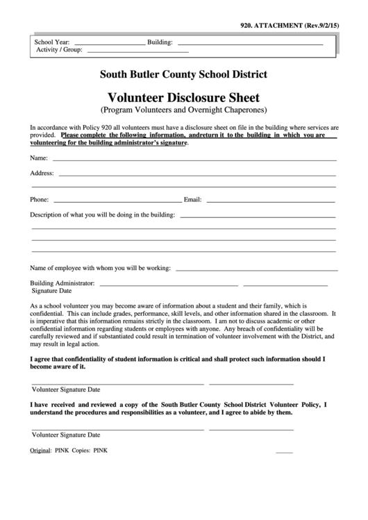 Volunteer Disclosure Sheet