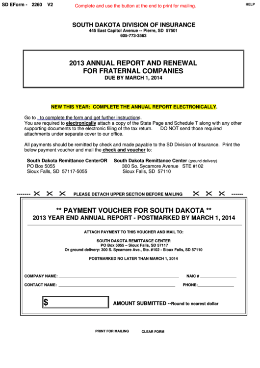 Fillable Sd Eform 2260 - Annual Report And Renewal For Fraternal Companies Voucher - 2013 Printable pdf
