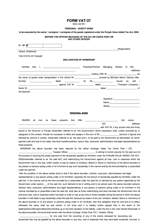 Form vat 37 personal surety bond printable pdf download for Personal surety template