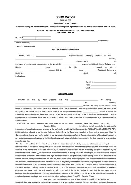 personal surety template form vat 37 personal surety bond printable pdf download