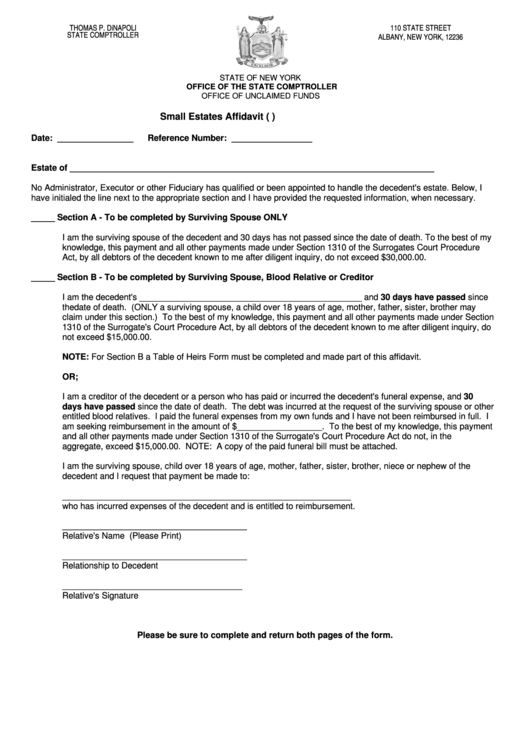 Small Estates Affidavit Form (S.c.p.a. Section 1310), Table Of Heirs - New York State Comptroller Printable pdf