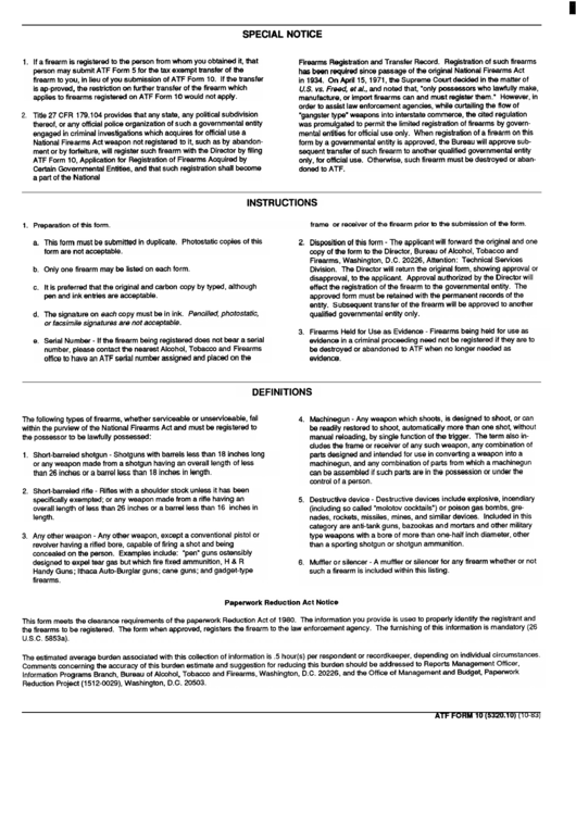 Application For Registration Of Firearms Acquired By Certain Gorvernmental Entities (atf Form 10 (5320.10)) Instructions