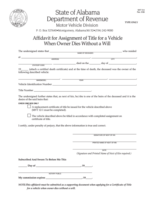 Fillable Form Mvt 5-6 -Affidavit For Assignment Of Title For A Vehicle When