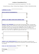 Articles Of Amendment Form - Vermont Domestic Nonprofits And Cooperatives (t.11b, 10.05) - Vermont Secretary Of State