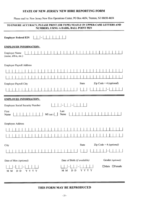 New Jersey New Hire Reporting Form Printable pdf