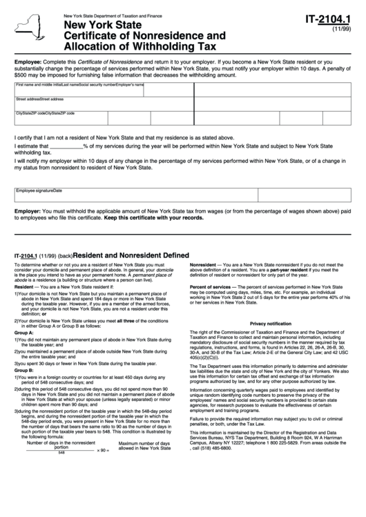Fillable Form It-2104.1 - Certificate Of Nonresidence And Allocation Of Withholding Tax - New York State Department Of Taxation Printable pdf