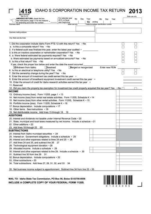 Form 41s - Idaho S Corporation Income Tax Return - 2013, Form Id K-1 - Partner's, Shareholder's, Or Beneficiary's Share Of Idaho Adjustments, Credits, Etc. - 2013
