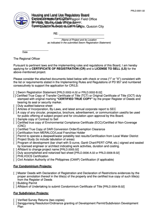 Fillable Application For A Certificate Of Registration (Cr) And A License To Sell (Ls) - Cebu City Printable pdf