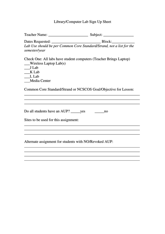 Library/computer Lab Sign Up Sheet Template printable pdf download
