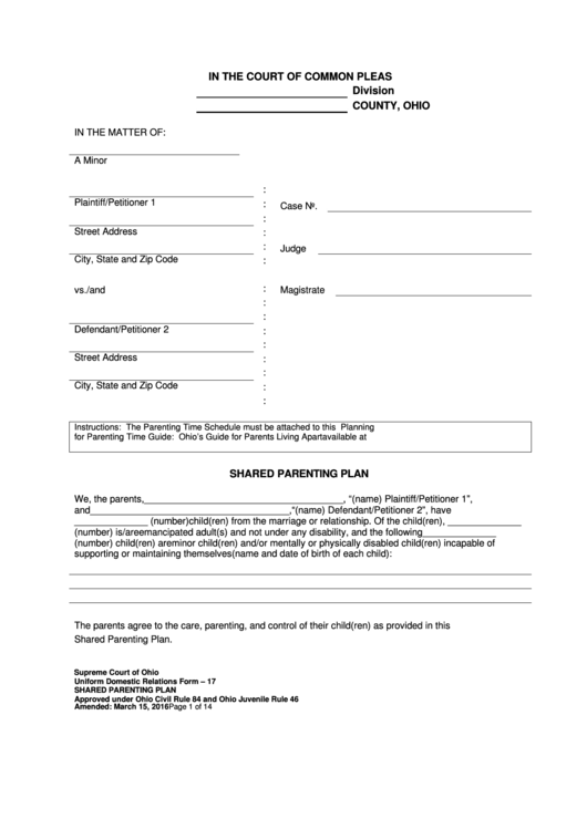 Uniform Domestic Relations Form 17 - Shared Parenting Plan