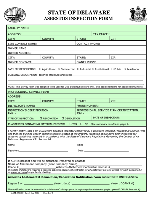 Form Aqm Asb 001 Asbestos Inspection Form Page 2 Of 2