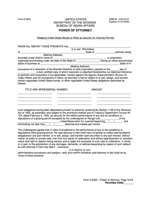 Form 5-5520 - Power Of Attorney