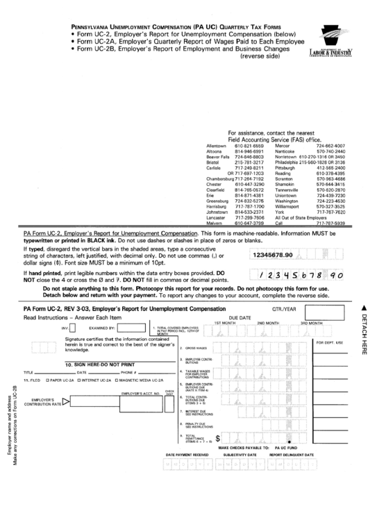 Form Uc-2 - Employer\'s Report For Unemployment Compensation ...