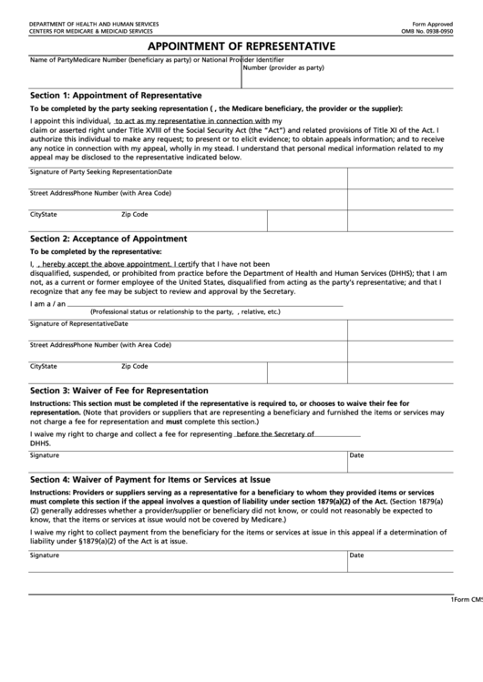 Fillable Form Cms-1696 - Appointment Of Representative - Department Of Health And Human Services Printable pdf