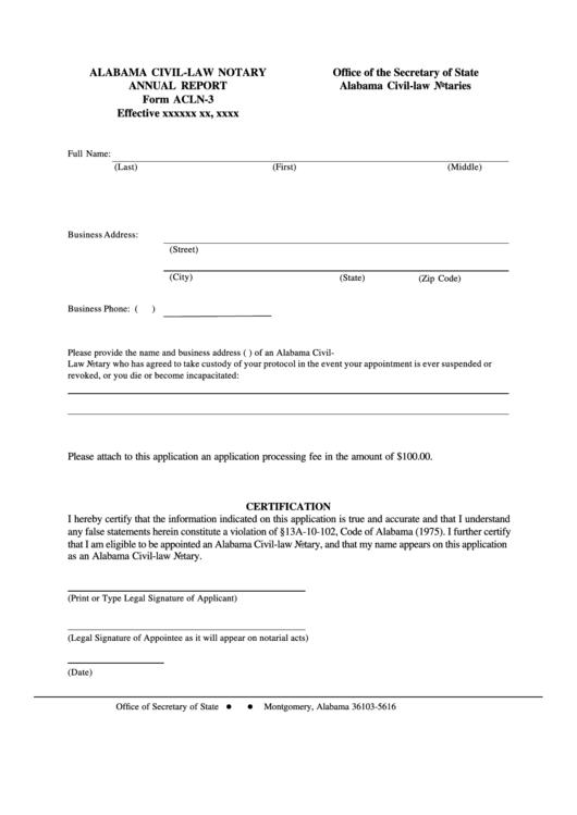 Form Acln-3 - Alabama Civil-Law Notary Annual Report - Alabama Secretary Of State Printable pdf