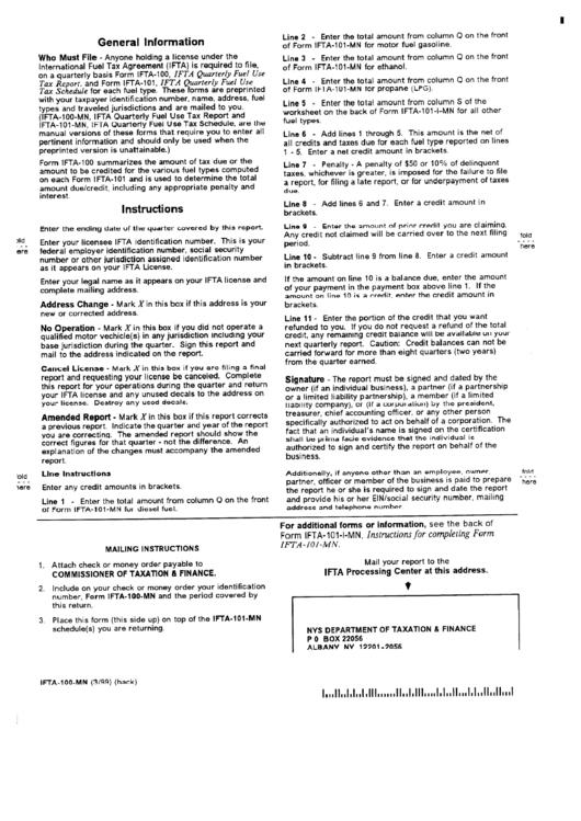 Form Ifta-100-mn - Instructions For Ifta Quarterly Fuel Use Tax - 1999
