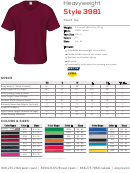 Heavyweight Style 3981 Youth Tee Size Chart