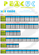 Peak Uk Size Chart Guide