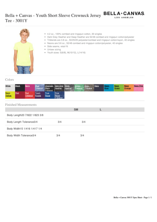 Bella+canvas - Youth Short Sleeve Crewneck Jersey Size Chart