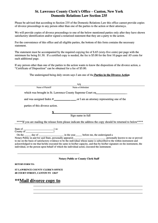 Divorce Form - St. Lawrence County Clerk'S Office - Canton ...