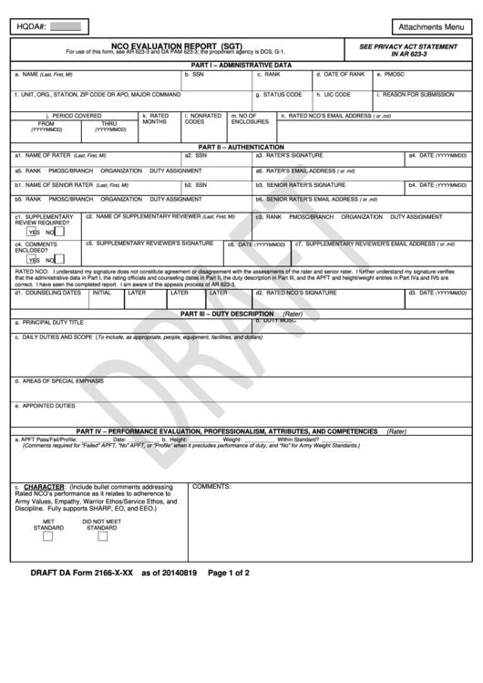 Draft Da Form 2166-X-Xx - Nco Evaluation Report (Sgt) Printable pdf