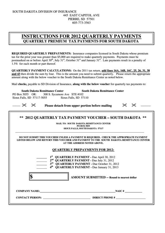 2012 Quarterly Tax Payment Voucher - South Dakota Printable pdf