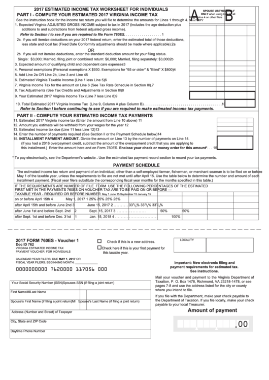 Fillable Form 760es Estimated Income Tax Worksheet For