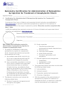 Form Doh 662-096 - Optometry Certification For Administration Of Epinephrine By Injection For Treatment Of Anaphylactic Shock