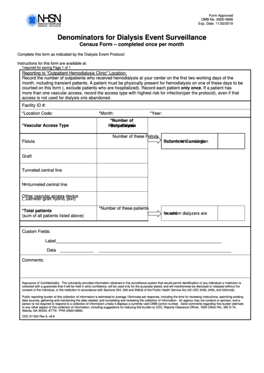 Form Cdc 57.503 - Denominators For Dialysis Event Surveillance
