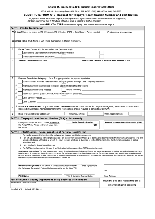 Fillable Substitute Form W-9