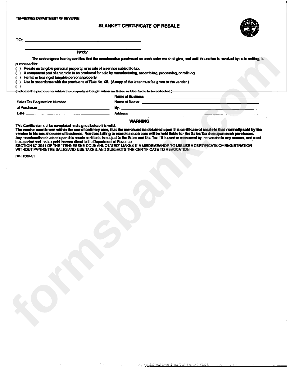 Blanket Certificate Of Resale Form Printable Pdf Download