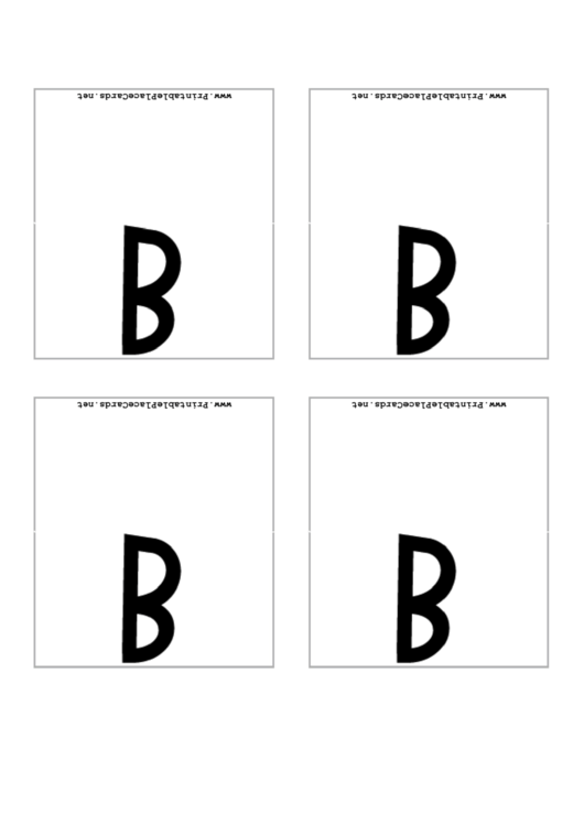 Letter B Place Card Template Printable pdf