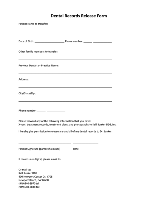 Dental Records Release Form Templates