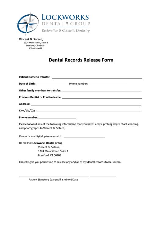 Dental Records Release Form Printable Pdf