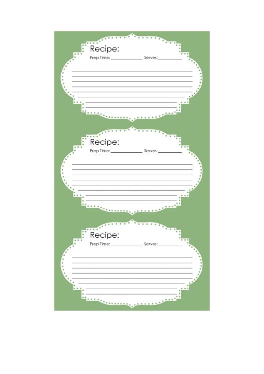 Vintage Recipe Card Template 3x5