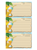 Palm Tree Drink Blue Recipe Card Template