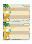 Palm Tree Drink Blue Recipe Card 4x6
